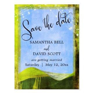 Rustic Banana Leaf w/ Lights Boho Save the Date Postcard