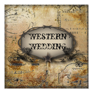 rustic barbed wire western country cowboy wedding card