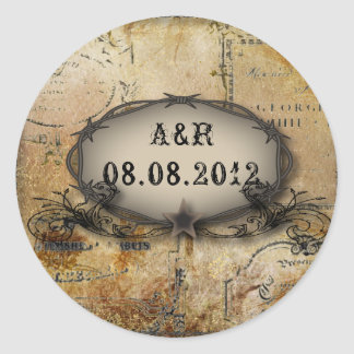 rustic barbed wire western country cowboy wedding classic round sticker