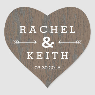 Rustic Bark Heart Favor Sticker