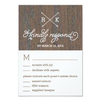 Rustic Bark Wedding Response / RSVP Cards 9 Cm X 13 Cm Invitation Card