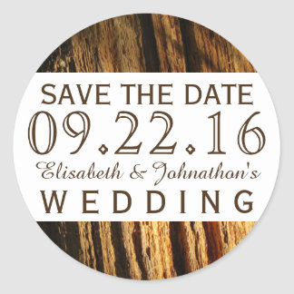 Rustic Bark Wedding Save The Date Classic Round Sticker