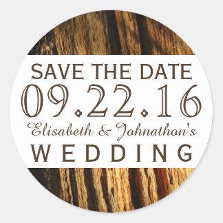 Rustic Bark Wedding Save The Date Round Sticker