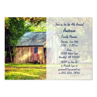 Rustic Barn American Flag Family Reunion Invite