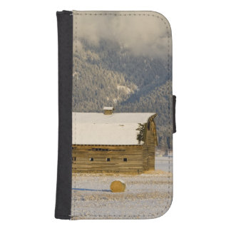 Rustic barn and hay bales after a fresh snow 2 samsung s4 wallet case