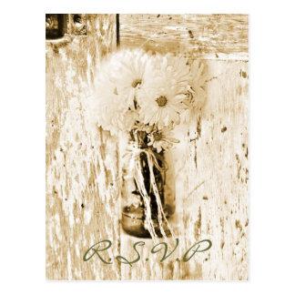 rustic barn country daisy wedding response RSVP Postcard