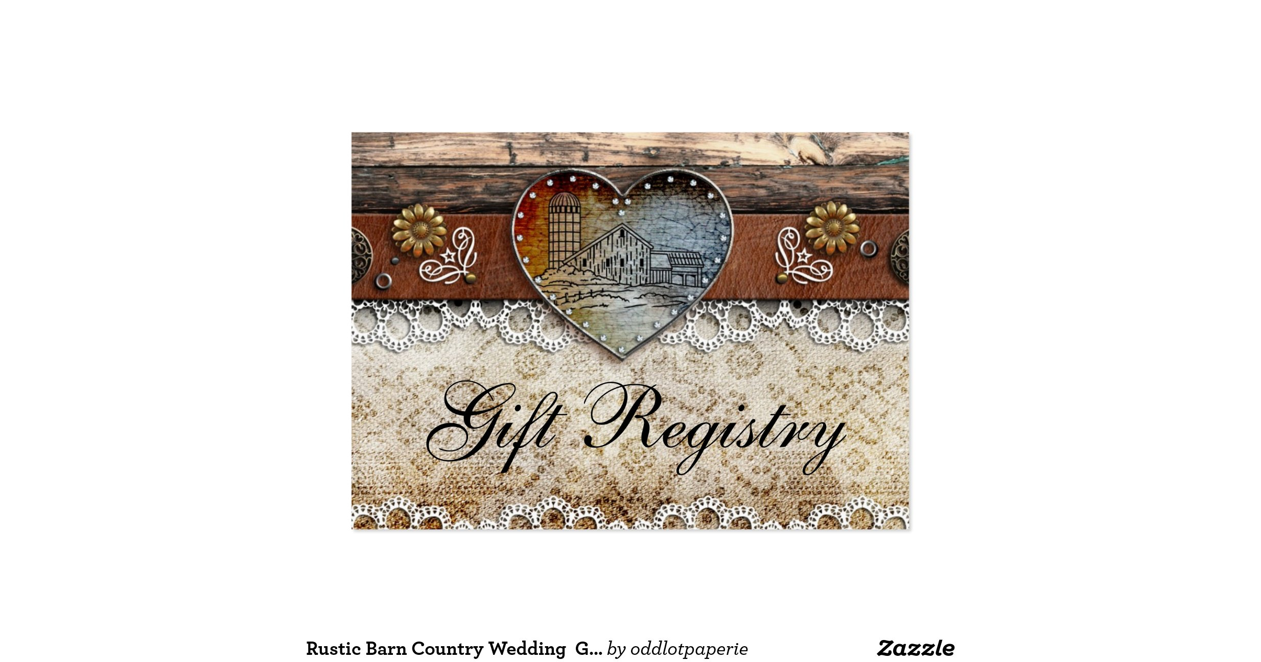 Rustic Barn Country Wedding Gift Registry Pack Of Chubby Business ...