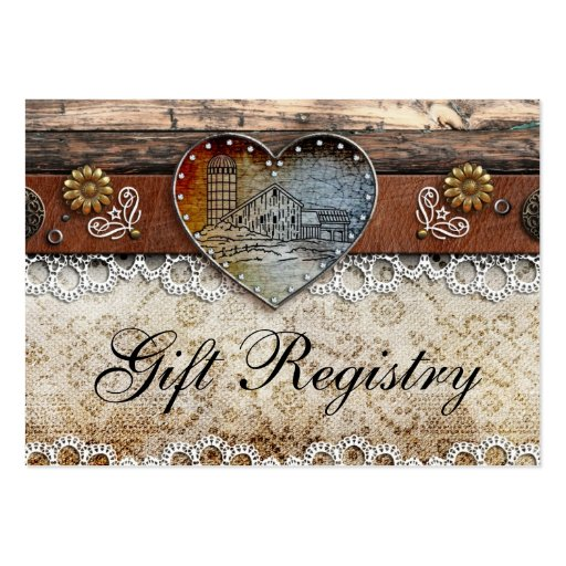 Rustic Barn Country Wedding  Gift Registry Business Card