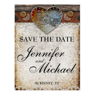 Rustic Barn Country Wedding  Save the Date Card Postcards