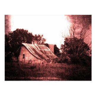 Rustic Barn, Crimson Grunge, Ethereal, Spooky Postcard