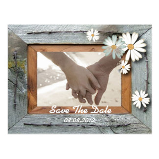 rustic barn daisy country wedding save the date postcard