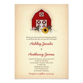 Rustic Barn Farm Country Sunflower Daisy Wedding 13 Cm X 18 Cm Invitation Card