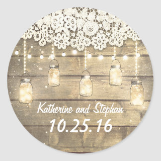 Rustic Barn Mason Jar Lights and Lace Wedding Classic Round Sticker