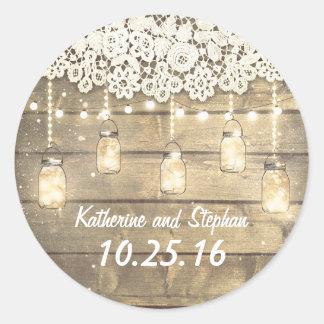 Rustic Barn Mason Jar Lights and Lace Wedding Round Sticker