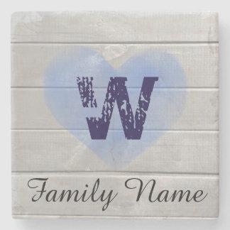 Rustic Barn Monogram Blue Heart Coaster Stone Coaster