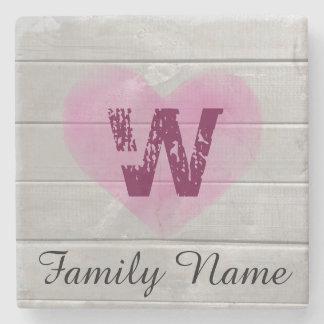 Rustic Barn Monogram Pink Heart Coaster Stone Coaster