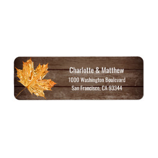 Rustic Barn Orange Leaves Wedding Return Address Return Address Label