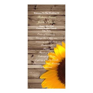 rustic barn sunflower country wedding programs custom rack cards