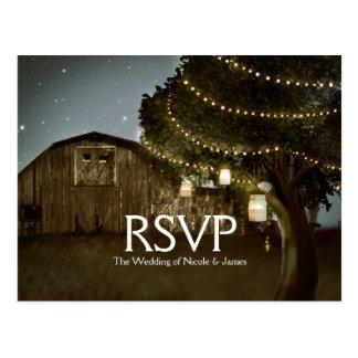 Rustic Barn & Tree Lights Wedding RSVP Card Postcard