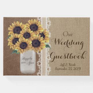 Rustic Barn Wedding Burlap Mason Jar Sunflowers