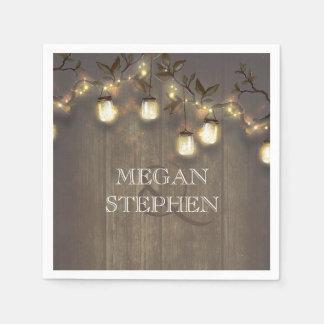Rustic Barn Wedding String Lights Mason Jars Paper Napkins