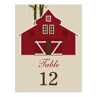 Rustic Barn Wedding Table Number Card Postcard