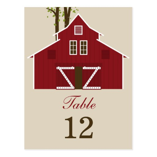 Rustic Barn Wedding Table Number Card Post Cards