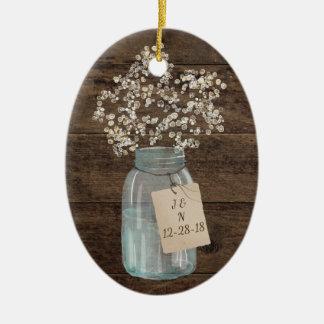 Rustic Barn Wedding Wood Mason Jar Babys Breath Ceramic Ornament