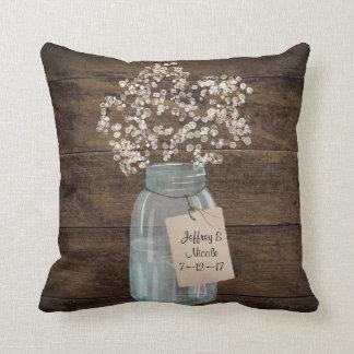 Rustic Barn Wedding Wood Mason Jar Babys Breath Cushion