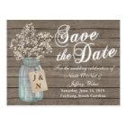 Rustic Barn Wedding Wood Mason Jar Babys Breath Postcard