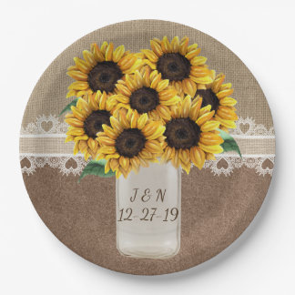 Rustic Barn Wedding Wood Mason Jar Sunflowers Paper Plate