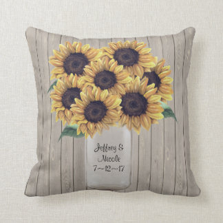 Rustic Barn Wedding Wood Mason Jar Sunflowers Throw Pillow