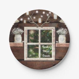 Rustic Barn Window Tree & Mason Jar Wedding Paper Plate