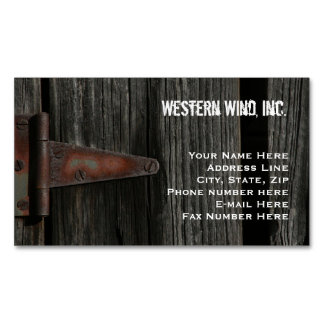Rustic Barn Wood and Hinge Country Magnetic Business Card