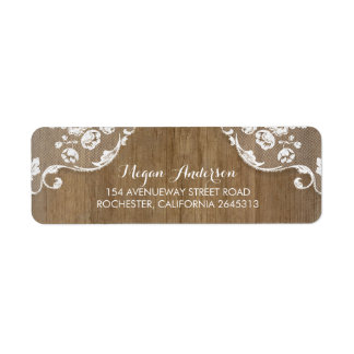 Rustic Barn Wood and Lace Chic Country Wedding Return Address Label