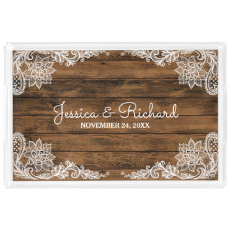Rustic Barn Wood and Lace Wedding Acrylic Tray