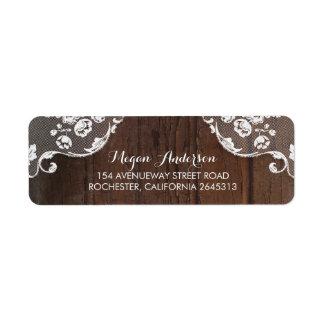 Rustic Barn Wood and Lace Wedding Return Address Label
