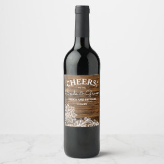 Rustic Barn Wood and Lace | Wedding Wine Label