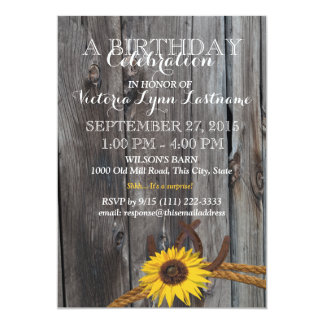 Rustic Barn Wood and Sunflower Birthday Card