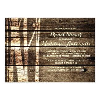 Rustic Barn Wood Birch Trees Winter Bridal Shower Card