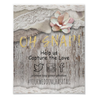Rustic Barn Wood Burlap Lace Snap Hashtag Weddings Poster