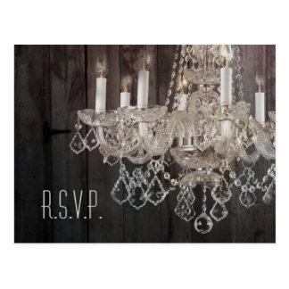 Rustic barn wood chandelier wedding response RSVP Postcard