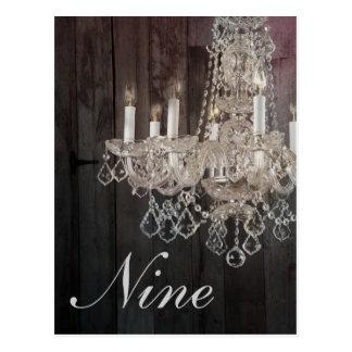 Rustic barn wood chandelier wedding table numbers postcard
