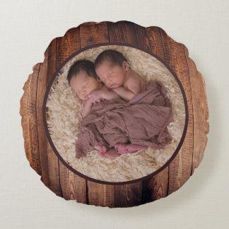 Rustic Barn Wood Circle Family Photo & Name Round Cushion