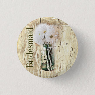 rustic barn wood country daisy bridesmaid 3 cm round badge