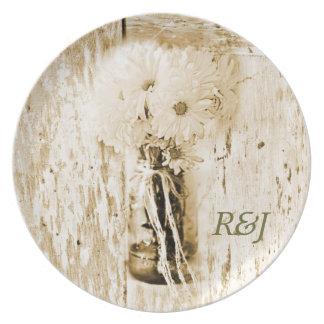 rustic barn wood country daisy wedding plate