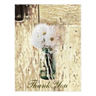 rustic barn wood country daisy wedding thank you postcard