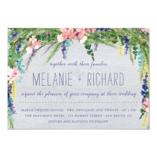 Rustic Barn Wood & Country Flowers Photo Wedding Card