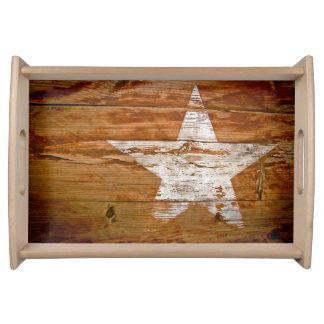 Rustic Barn Wood Country Painted Star Serving Tray