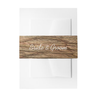 Rustic Barn Wood Country Wedding Invitation Belly Band
